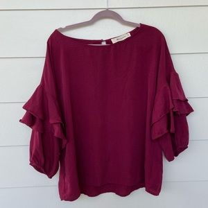 The Impeccable Pig Burgundy Bell Sleeve Ruffle Top